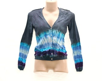 Upcycled Tie Dye Cardigan, OOAK Repurposed Sweater, Hippie Lightweight button up, Trippy Ladies Clothes