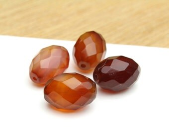 Faceted Natural Genuine Carnelian Barrel Beads 10x15mm 4pcs