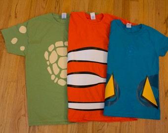 nemo, dory and crush inspired shirts