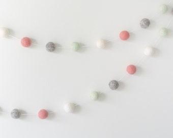 Pink White Mint Grey Felt Ball Garland, Modern Girl Nursery, Baby Shower Gift, Pink Mint Party Decor, Girl Birthday, Girly Dorm Decor