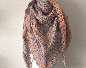 Crochet shawl Peach pastel with glitter