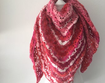 crochet shawl red, pink and white