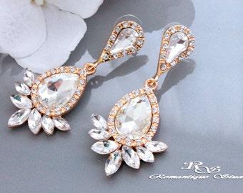 GOLD teardrop crystal wedding earrings, Tear drop dangle earrings, Bridal earrings, Bridesmaid drop earrings, Wedding jewelry gift 1361G