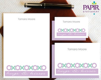 Personalized Stationery Set - Personalized Stationary - HUGS & KISSES Custom Stationery Note Cards and Notepad