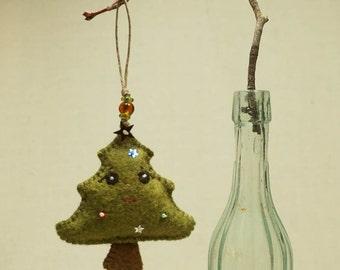 Beaded Christmas Tree  Ornament, Wool Felt Holiday Ornament * Ready to ship