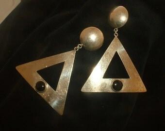 "Mid Century Kalibre 3.25"" Sterling Silver Earrings Onyx Hematite Triangle Harlene Korey 85' Pendant Earrings Shoulder Duster Post Pierced"