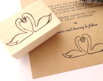 Handmade rubber stamp, Swan wedding invitation, Eternal love, Gift idea for couple, Japanese stationery
