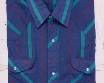 Vintage Sheplers Western Shirt Men's Large Pearl Snap Blue Striped Long sleeve
