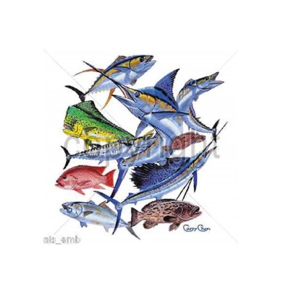 Fishing t shirt saltwater fish collage fishing t shirt for Custom saltwater fishing shirts