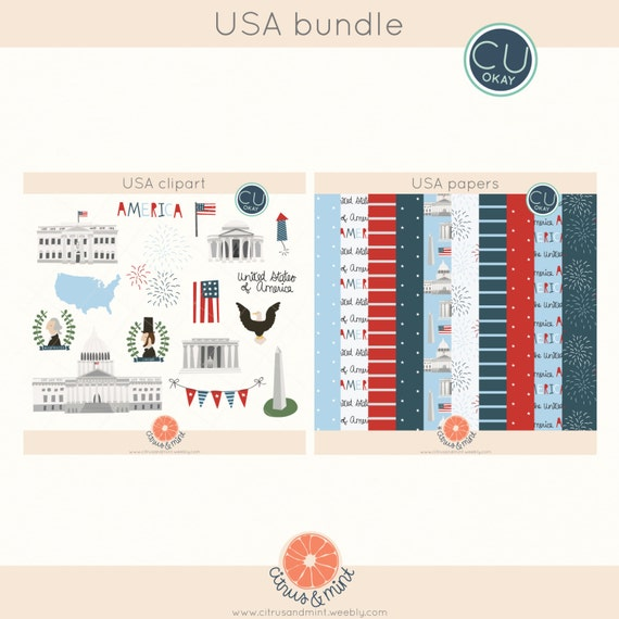United States America Clip Art and Papers- Fourth of July - Hand-Drawn Digital Illustrations- Commercial Use Royalty Free - instant download