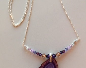 Agate Geode Slice Pendant/Necklace - Sterling Silver Chain and Swarovski Crystal Beads - Purple and Brown Translucent