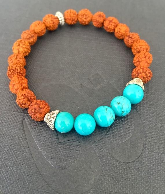 Meditation Wrist Mala Beads Rudraksha Turquoise Mala Bracelet, Stacking Bracelet Spiritual Jewelry Shiva's Tears, Transformation, Protection