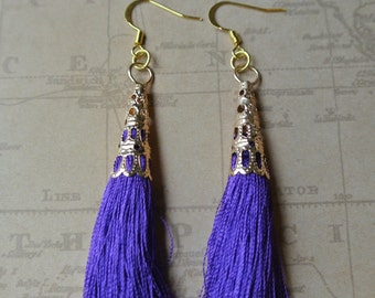Royal Purple Tassel Time Earrings