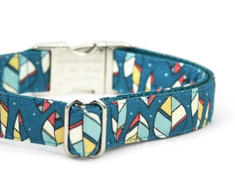 Teal Green Leaves Dog Collar Modern Fall Autumn Dog Collar with Metal Buckle - Henley