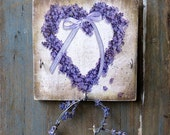 Wooden Key Holder-Cup Hooks-Key Rack-Key Hooks-Lavender Wreath-Decoupage-Rustic Country Decor