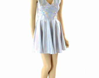Flashbulb White Holographic Sleeveless V Neck Skater Dress  152309