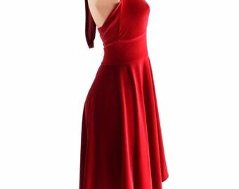 Handkerchief Hemline Halter Dress in Red Stretch Velvet  152386