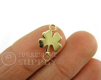 5 pc Delicate Clover Connector Charms, Quatrefoil Clover Charms, 22K Gold Plated Clover Necklace, Quatrefoil Clover Bracelet