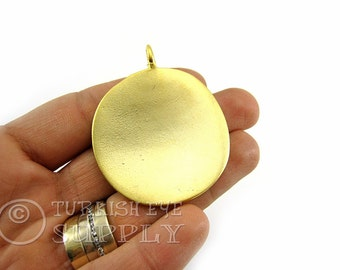Gold pendant etsy large round gold pendant 22k gold plated minimalist jewelry disc pendant turkish jewelry mozeypictures Gallery