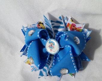La La Loopsie, la la loopsy hair bow, blue, zebra, bling /lalaloopsy