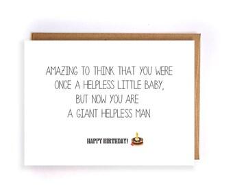 funny happy birthday card, funny birthday greeting cards for him, cute handmade greeting card for husband, boyfriend, friend, brother GC86