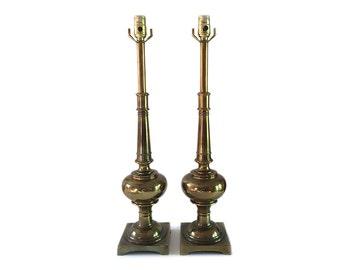 Stiffel Brass Lamps Mid Century Pair Tall Hollywood Regency