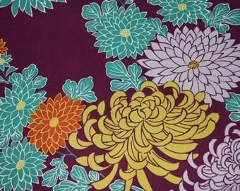Purple/ Crysanthemum/ Vintage kimono fabric / Japanese
