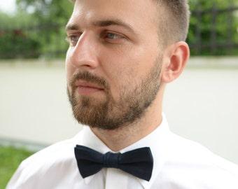 Navy Blue Linen Bow Tie- Wedding Bow Ties- Groom's Bow Tie- Dark Blue Bowtie