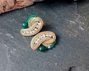 Small Clip-On Gold Emerald Green Soutache Earrings-Classic Retro Earrings-Elegant Earrings-Cubic Zirkonia Earrings-Evening Wedding Earrings