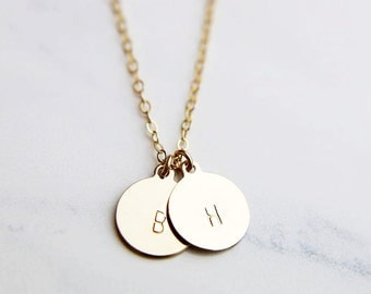 Personalized Gold initial Necklace 9mm / Hand Stamped Initial necklace / Delicate layering necklace/ Bridesmaid Gift  EP010