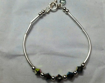 Multi Color Swarovski Crystal and 925 Sterling Silver Bangle Bracelet