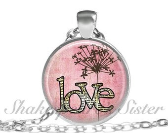 Love Necklace - Pink Pendant - Flower Jewelry - Whimsical Jewelry - Pendant Necklace