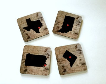 Personalized State Coasters - Custom Map Drink Coasters - Long Distance Friends, Birthday, Housewarming Gifts - Rustic Home Decor