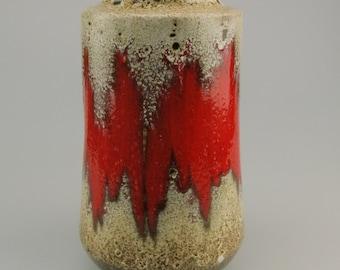 West German Vase Scheurich Lora Keramick off-white red 549/21