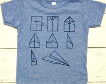 Paper airplane baby and toddler shirt. American Apparel. Cute kids shirt. Unisex. Hand drawn.
