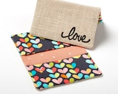 Heart Wallet for Her, ID Card Holder, Credit Card Pouch - Love Hearts - Gifts for Mom