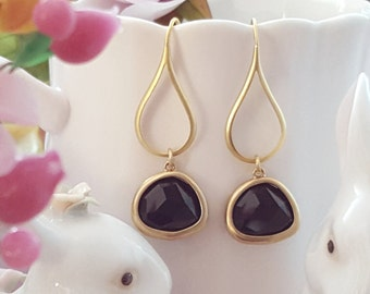 Black Crystal Earrings ~ Black Glass Earrings ~ Jet Rhinestone Jewelry ~ Matte Gold Dangle Earrings ~ Black Gold Teardrop Earrings E2516