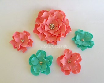 11 Sugar Flowers for Cakes, Edible Fondant Flowers Roses Gumpaste, Turquoise Wedding Coral, Fondant Cake Topper Edible, Vintage Party Decor