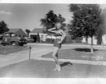 Vintage Photo..Blurry Bathing Beauty 1950's, Original Photo, Old Photo Snapshot, Vernacular Photography, American Social History Photo