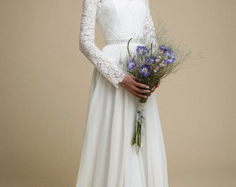 Long sleeve lace wedding dress etsy junglespirit Image collections
