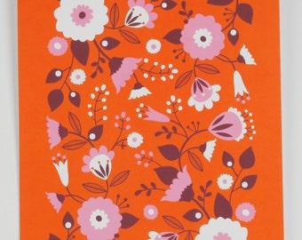 Giclee print A4 retro orange floral by MaggieMagoo Designs