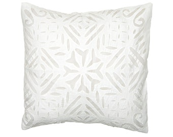 Cushion Cover - White Applique Organdie Backed - Design 2
