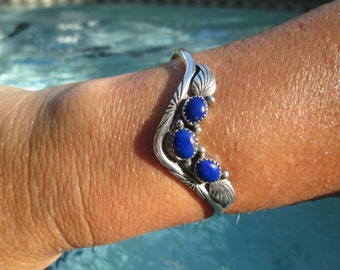 Lapis and Sterling Silver Feathers Inlay Cuff Bracelet