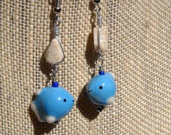 Blue earrings, Tropical Fish earrings,Wire Wrapped earrings,Coral fossil earrings,Fossil jewelry,Tropical Fish jewelry