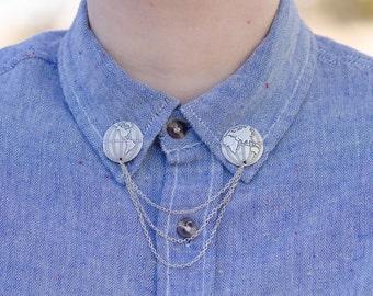 Silver Globe Collar/Cardigan Clip