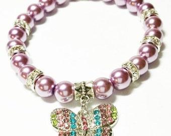 Butterfly Bracelet, Butterfly Jewelry, Pearl butterfly bracelet, Rhinestone butterfly bracelet, Pearl and rhinestone, Butterfly party favors