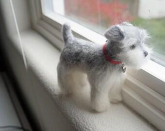 Custom Pet Portrait Sculpture, Needle Felted Mini Schnauzer, Wool Felted Dog, Wool Felted Animal, Blythe Accessory, Stocking Stuffer