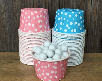 48 Blue and Pink  Polka Dot Paper Candy Cups-- Nut Cups--Birthday Party--Wedding, Baby Shower--Portion Cup Gender Reveal