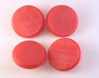 "4 - 1 1/4"" Plastic Matte Red Buttons - Vintage Lucite Shank Buttons - Large Red Buttons - Coat Buttons - 33 mm Sewing Buttons #R-02-17"
