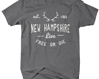 Men's New Hampshire State Slogan Shirt Live Free Or Die Antlers T-Shirts Est. 1788